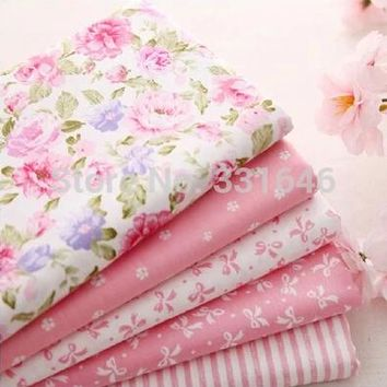 New Twill Pink Cotton Fabric Fat Quarter Patchwork Quilting Bundle Tilda DIY Sewing Baby Cloth Toy Home Textile 5PCS/LOT 40*50cm