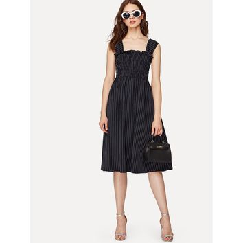 Pinstripe Shirred Dress