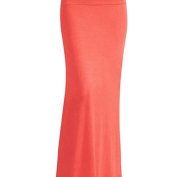 Fold Over Maxi Skirt Orange