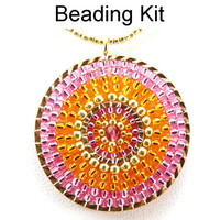 Beaded Pendant Necklace Kit Jewelry Brick Stitch Circle Pink Orange Gold Beading Jewelry Making Tutorial Pattern #6582