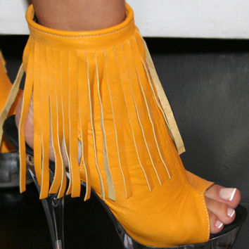 Yellow Miami Stripper Ankle Boot