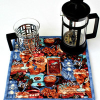 Fabric Trivet, Coffee Hot Pad, Quilted Trivet, Pot Holder, Insulated Trivet, Blue Brown Mug Rug, Quiltsy Handmade