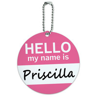Priscilla Hello My Name Is Round ID Card Luggage Tag