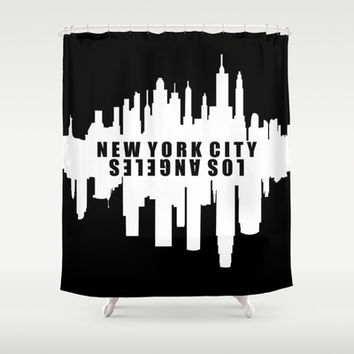 New York City / Los Angeles Skyline Shower Curtain by KJ53321 | Society6