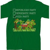 Teenage Mutant Ninja Turtles The Pizza Party Adult Green T-Shirt - Teenage Mutant Ninja Turtles - | TV Store Online