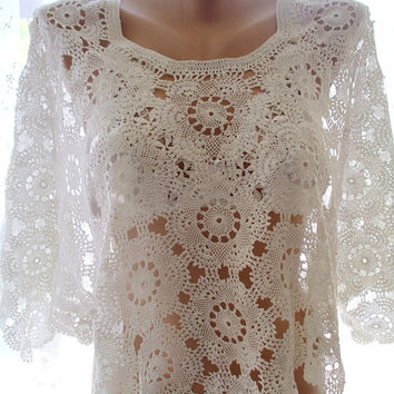Needle lace tunic, wedding wrap, crochet lace cover up, crochet lace summer top, handmade top, clothing, crochet tunic