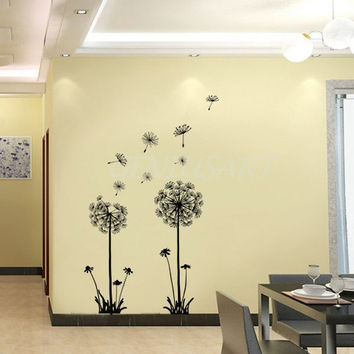 Dandelion Flower Decals Home Decor Removable Art Mural Vinyl Wall Sticker  0727 (Size: 2