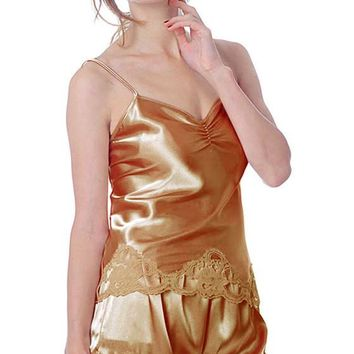 Camisole/Shorts Set - Satin Charmeuse w/Lace Trim (Small-3X)