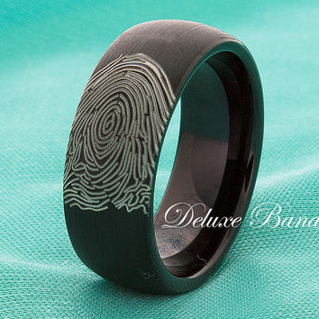 fingerprint black tungsten wedding bandtungsten wedding ringfingerprint ringmens womens fingerprint - Hypoallergenic Wedding Rings