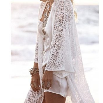 New Lace Women's Blouse Ladies Fringe Long Sleeve Kimono Cardigan Tops Women's Sexy Cover Up Open Stitch Blouse White Blusas