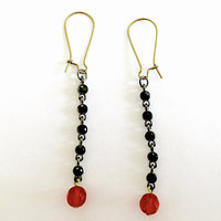 Vintage Dangle Earrings with Red Swarovski Crystal and Jet Black Faceted Stones, BoHo Earrings, Drop Earrings with Sparkle and Touch of Red