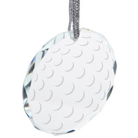 Golf Ball Etched Round Crystal Ornament
