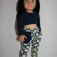 18 inch doll clothes floral Harem, dance, yoga pants , navy crop top, american girl, maplelea