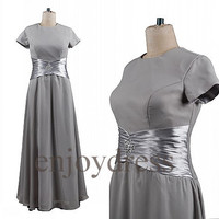 Custom Gray Short Sleeves Long Prom Dress Formal Evening Gowns Formal Party Dresses Cocktail Dress Mother Dresses