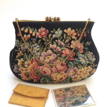 On Sale - Jolles Original Purse - Vintage Handbag - 40s 50s - Petit Point Bag - J Jolles Needlepoint - Made in Austria