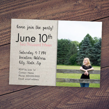2015 Graduation Card Invite for High School Girl or Guy: 5x7 Senior Announcement with Industrial Chic Modern Style