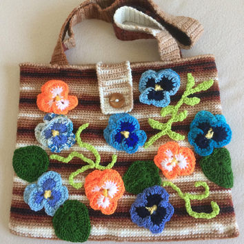 ON SALE - 10% OFF  Crochet  Pansy  Art Pouch