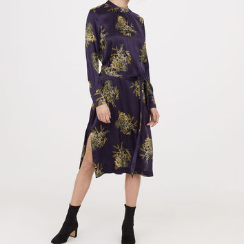Silk satin dress - Dark blue/Patterned - Ladies | H&M GB