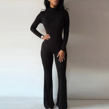 Fashion Women Long Sleeve High Neck Solid Bodycon Casual Jumpsuit Romper Overalls