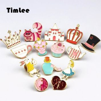 Cute Wonderland Enamel Pins Collect Alice and All of the Wonderland Metal Cartoon Brooches