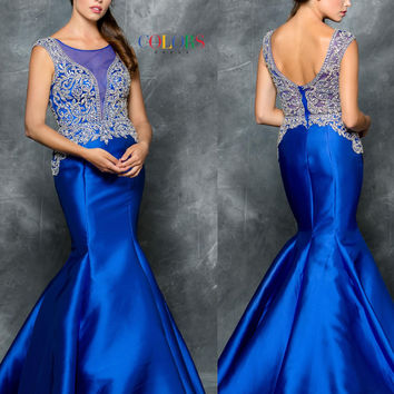 Colors 1655 Jeweled Cap Sleeve Bodice Mermaid Prom Evening Dress
