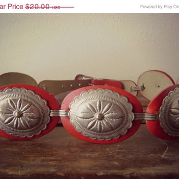 24 HOUR SALE 80s Red Concho Ladies Belt Vintage 1980s Small Red Belts 26 waist Western Southwest Navajo Belt Linked Concho Womens Belt Nativ