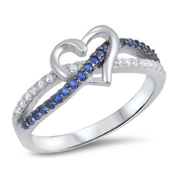 Sterling Silver CZ Simulated Blue Spinel and Simulated Diamond Infinity Through Heart Ring 8MM
