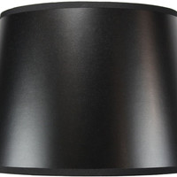 0-004082>11x14x 9.5 Black Drum Parchment Lamp