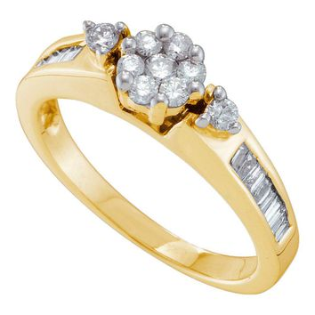 14kt Yellow Gold Womens Round Diamond Flower Cluster Fashion Ring 1/2 Cttw