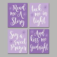 PURPLE Lilac Nursery Wall Art, CANVAS or Print, Nursery Quote Artwork, Read Me A Story, Kiss Me Goodnight, Rhyme Quote, Crib Decor,Set of 4