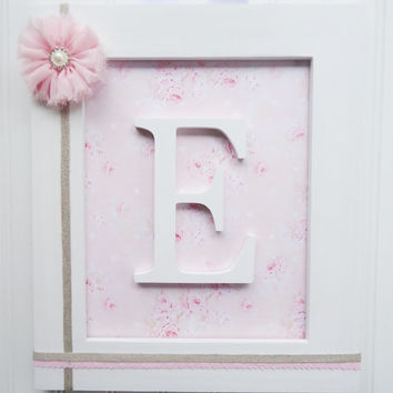 Framed Nursery Letters Pink Damask Wall L