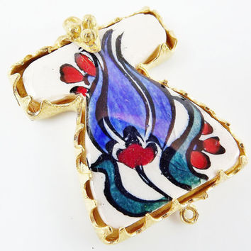 Hand painted Turkish Ottoman Caftan Pendant Connector - Blue Tulip No: 11 - Cini Ceramic - Gold plated 1pc - GP106