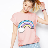 Pink  Clouds Rainbow Short Sleeves T-Shirt