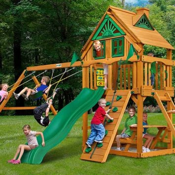 Gorilla Playsets Chateau Treehouse Wooden Swing Set