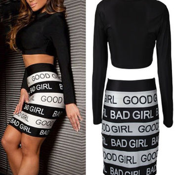 Long Sleeve Cropped Hip Wrapped Letter Printed Skirt Set