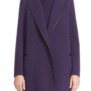 Victor Alfaro Leather Trim Merino Wool Coat | Nordstrom