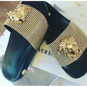 Versace Trending Women Men Fashion Casual Slipper Shoes Golden I
