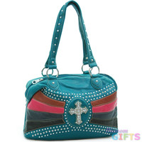 Studded tote/ satchel bag with rhinestone cross accent - turquoise/ mixed Color: Turquoise/ Mixed