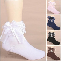 1pcs Cute Lace Bow Solid Socks for Children Meias Calcetines Kids Korean Spring Socks for Girls Socks [9305780231]