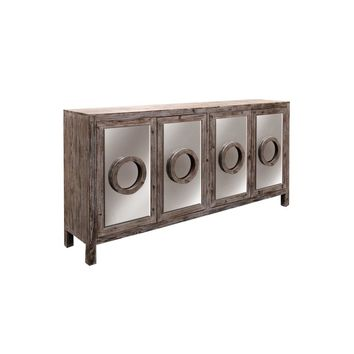 ADNAN SIDEBOARD | Distressed Natural Finish on Hardwood with Plain Finish Beveled Mirror