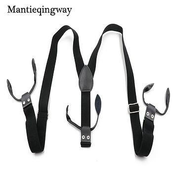 Men's Six Buttons Elastic Suspenders For Wedding Genuine Leather Clip-on Suspender Black Braces Belt Strap