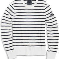 Sperry Top-Sider Nautical Stripe Crew Neck Sweater SoftIvory/PeacoatNavy, Size S  Men's