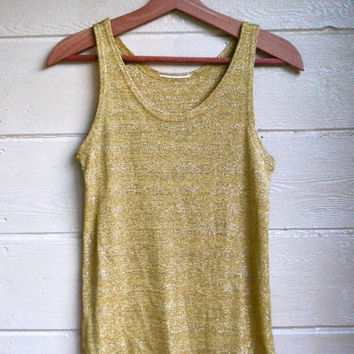 Vintage 1980s Metallic Gold Tank Top Rave Grunge Tank Top Shirt