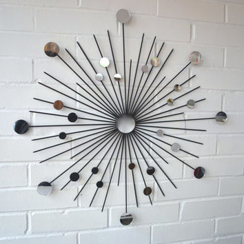 "24"" Starburst Modern Metal Wall Art Mirrors Mod Retro Atomic Style Decoration Sunburst Decoration"