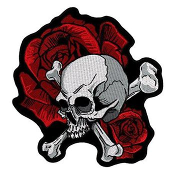 Skull and Crossbones with Roses Embroidered Back Patch Iron Sew HLPM4871