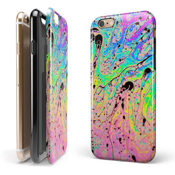 Neon Color Fushion with Black splatters iPhone 6/6s or 6/6s Plus 2-Piece Hybrid INK-Fuzed Case