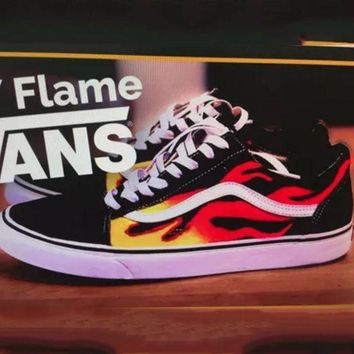 ONETOW Vans Classics Flame Brothers Canvas Old Skool Flats Sneakers Sport Shoes G-FEU-SY