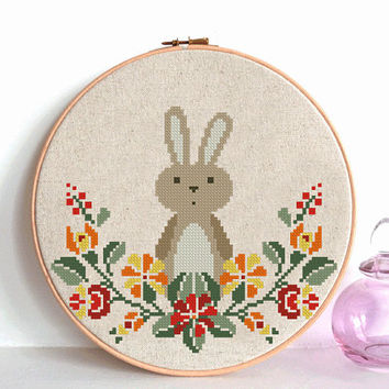 bunny cross stitch pattern,  Rabbit cross stitch pattern,  Easter cross stitch Modern cross stitch pattern PDF Instant Digital Download