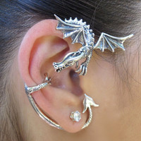 Silver Dragon Guardian Ear Wrap