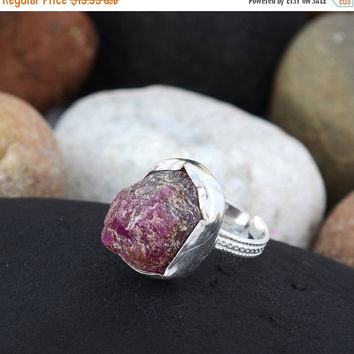 SaleHandmadeJewelry Ruby Rough Gemstone Red Color Rough Jewelry Ruby  Large Ring Ruby Silver Ring Ruby Ring Rough Gemstone Ruby Ring Natural